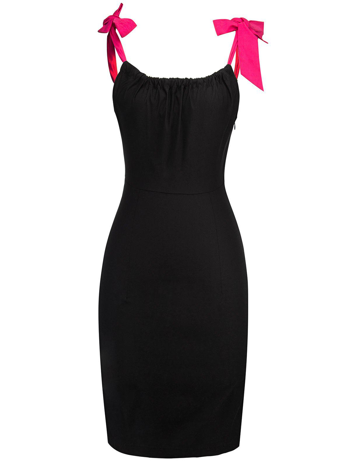 Self Tie Straps Bodycon Knee Length Dress - BLACK XL
