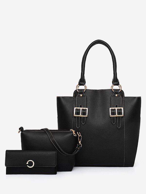 Minimalist Casual Faux Leather 3 Pieces Shoulder Bag Set faux leather 3 pieces tote bag set