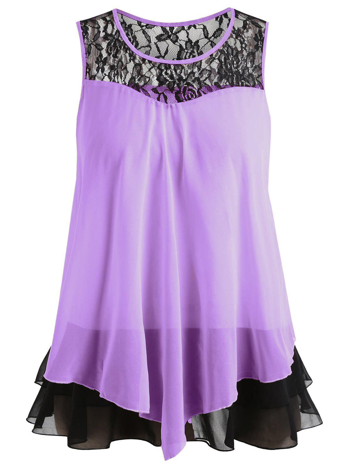 Lace Panel Plus Size Sleeveless Chiffon Blouse