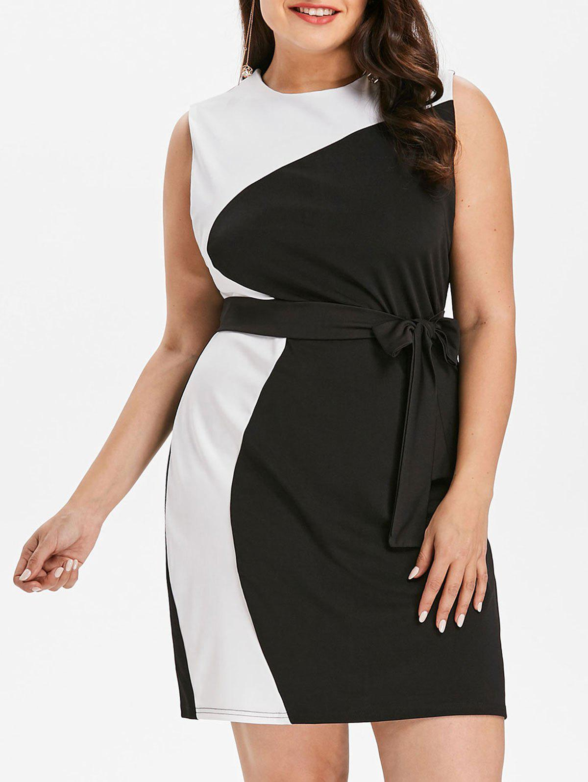 Plus Size Color Block Work Dress - BLACK 4X