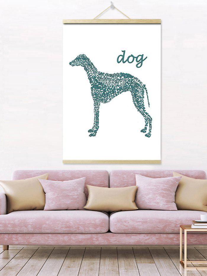 Letters Dog Print Wall Hanging Canvas Painting - DARK TURQUOISE 1PC:20*28 INCH(NO FRAME)