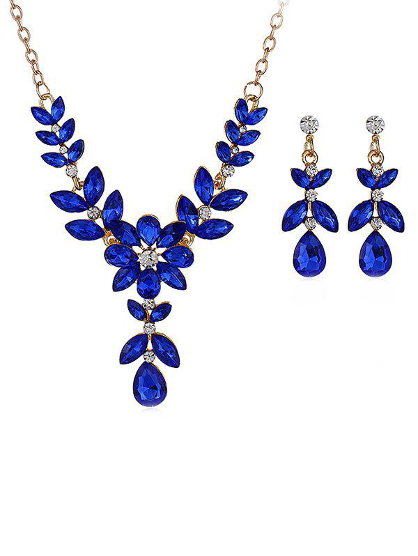 Water Drop Design Flower Decorations Rhinestone Necklace with Earrings - BLUE