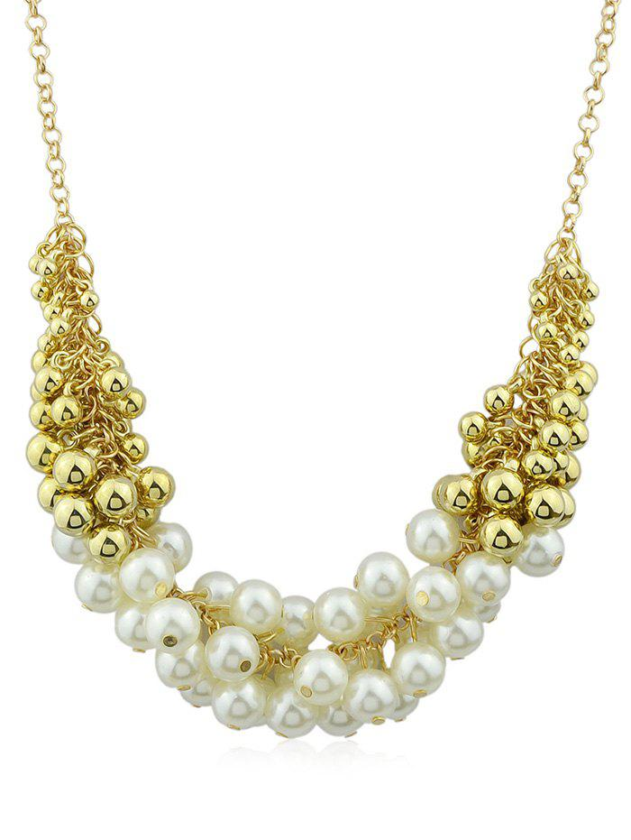 Artificial Pearls Decorations Chain Pendant Necklace - multicolor B