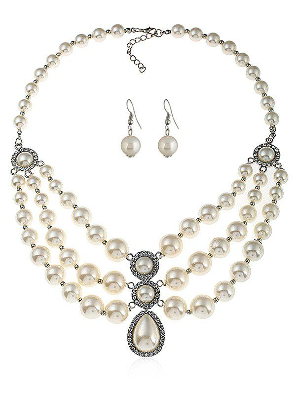 Multilayer Faux Pearl Beaded Jewelry Set