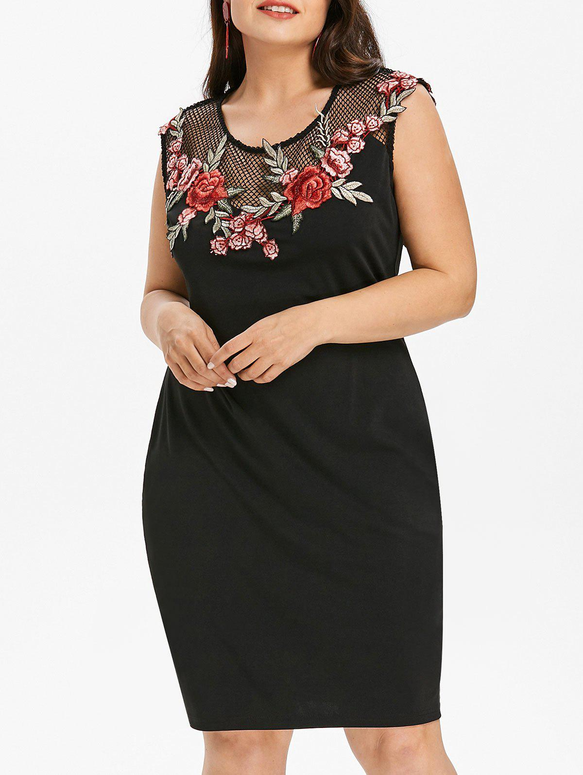 Plus Size Embroidery Sheer Sleeveless Dress - BLACK L