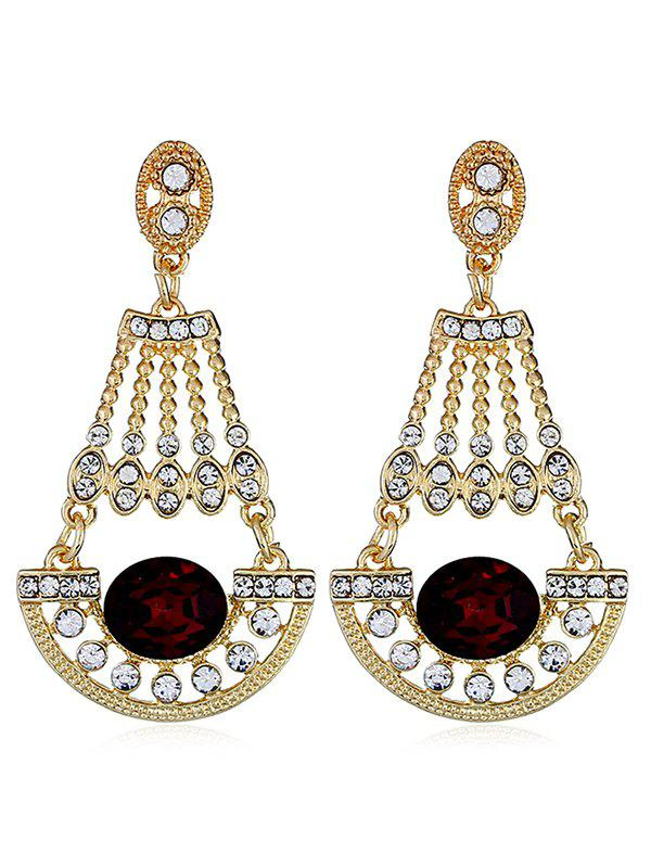 Rhinestone Inlaid Faux Gem Dangle Drop Earrings gold plated faux gem drop earrings