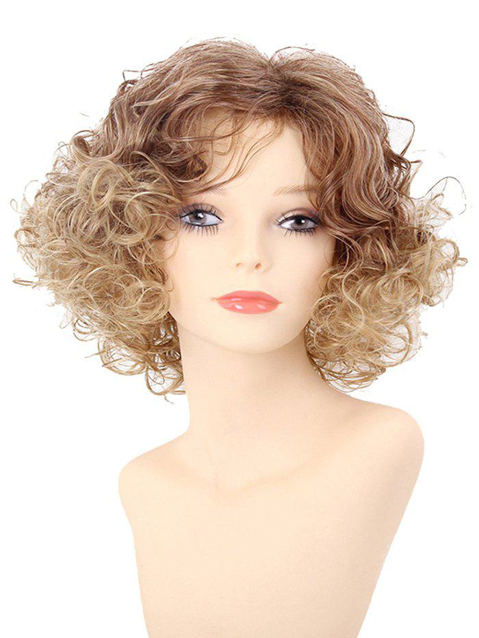 Short Inclined Bang Fluffy Colormix Curly Synthetic Wig - multicolor