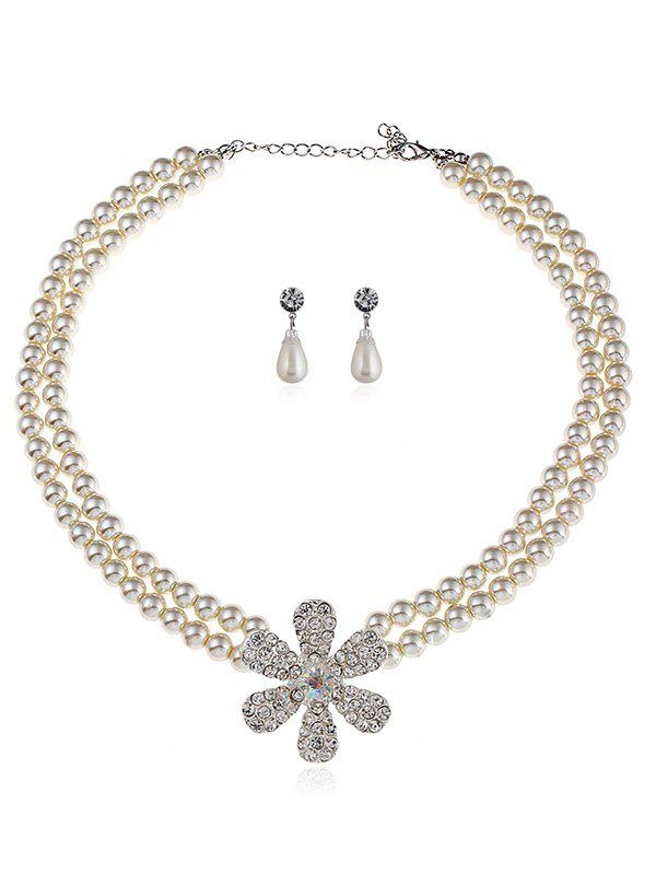 Rhinestone Floral Faux Pearl Beaded Necklace and Earrings faux pearl beaded round floral earrings