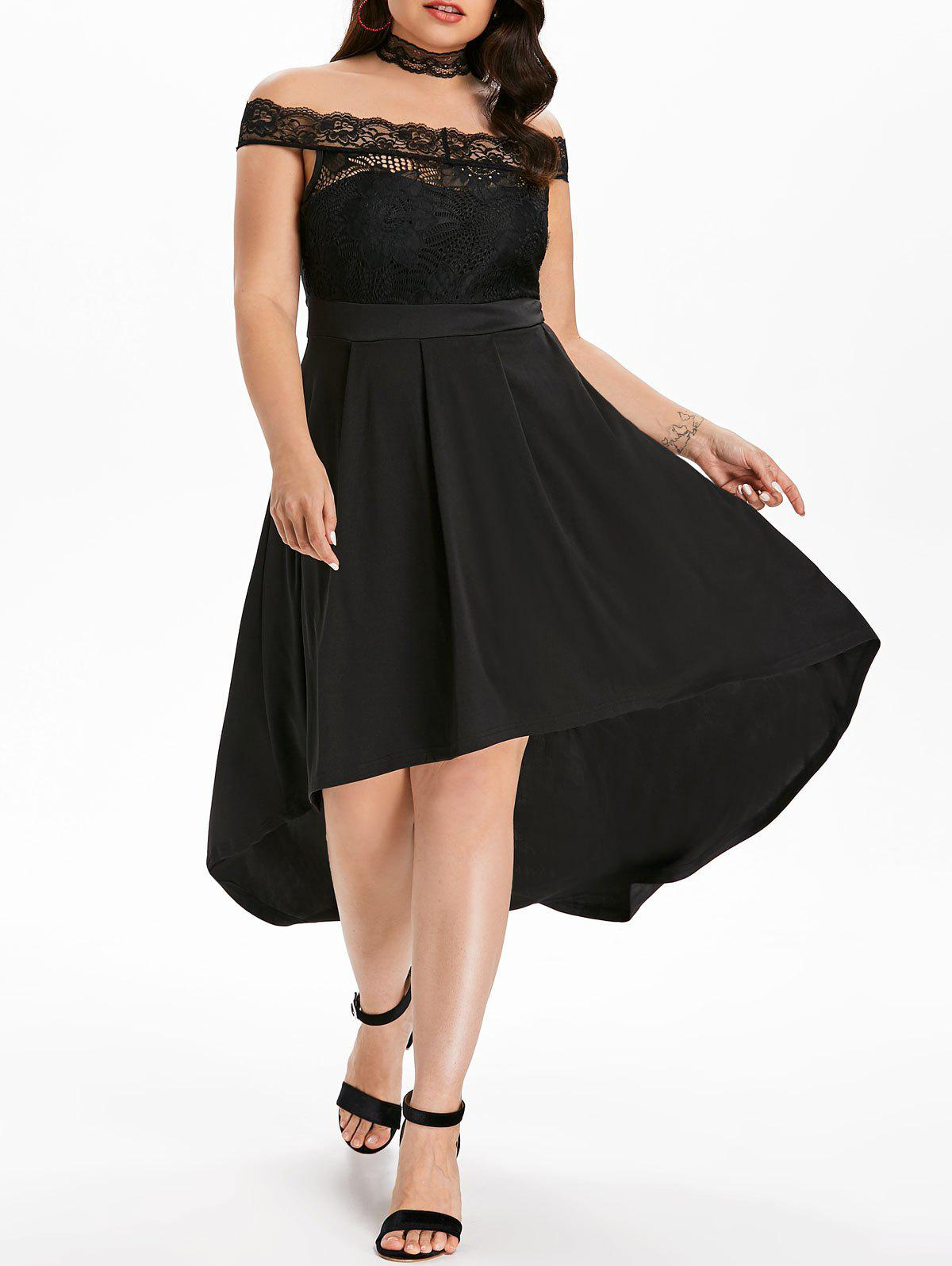 Plus Size Off Shoulder Lace Maxi Dress - BLACK 3X