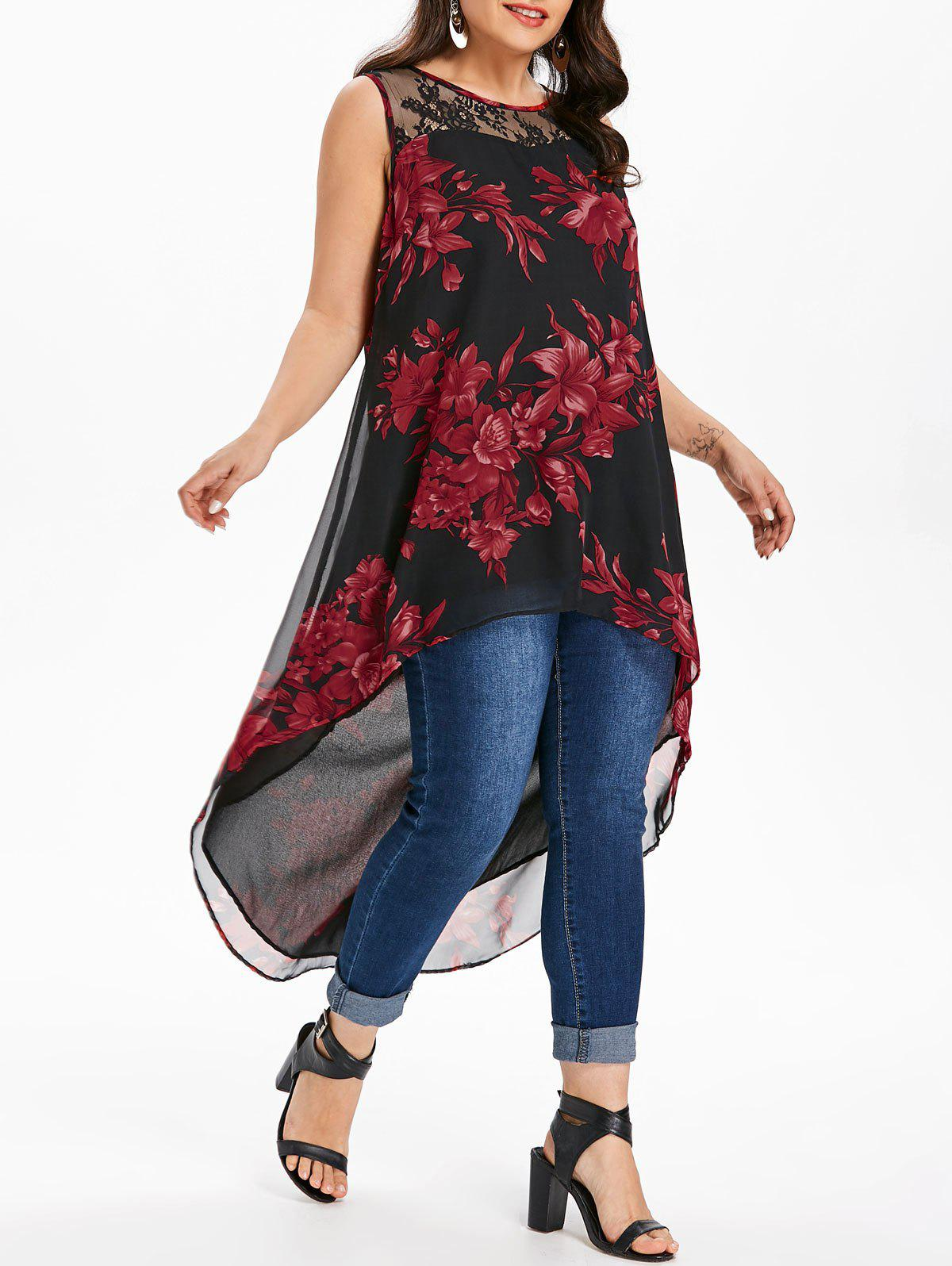 Plus Size Flower High Low Blouse alfani new black women s size small s mesh back high low ribbed blouse $59 259