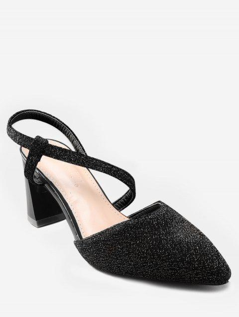 Chic Glitters Chunky Heel Pointed Toe Pumps - BLACK 39