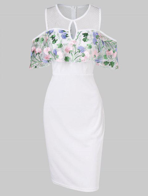 Floral Embroidered Cold Shoulder Flounce Bodycon Dress - MILK WHITE M