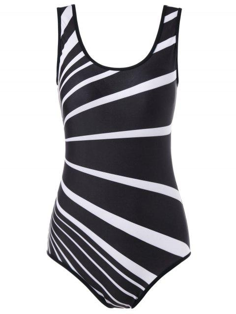 Stripe Padded Backless One Piece Swimsuit - BLACK XL