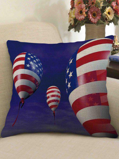 American Flag Balloon Print Linen Sofa Pillowcase - multicolor W18 INCH * L18 INCH