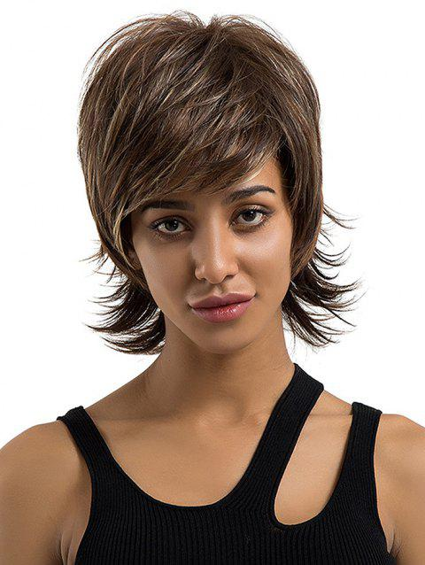 Short Side Bang Colormix Layered Straight Outwards Human Hair Wig - multicolor