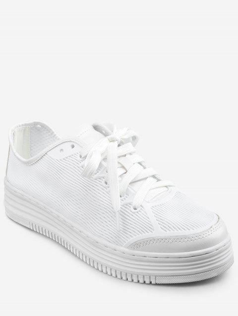 Lightweight Low Heel Chic Sneakers - WHITE 38