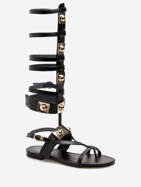 Metallic Multi Straps Flat Heel Gladiator Sandals - BLACK 38