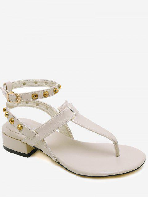 cbac41530 2019 Ankle Strap Rivets Low Heel Thong Sandals In APRICOT 39 ...