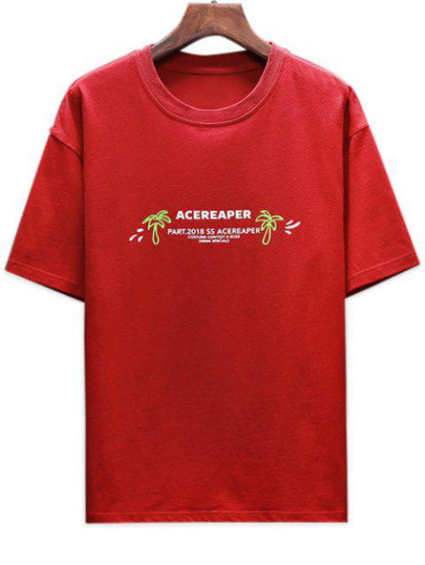 Casual Letter Skull Printed T-shirt - RED XL