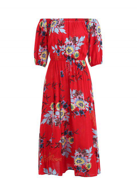 Print Off Shoulder Dress - RED ONE SIZE