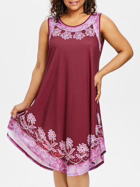 Plus Size Floral Sleeveless Swing Dress - RED WINE 3X