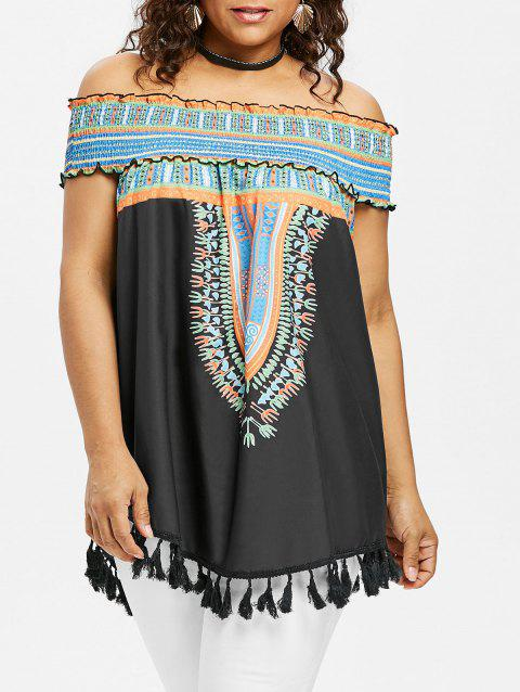 Plus Size Ruffle Baring Shoulder Dashiki Blouse - BLACK 2X
