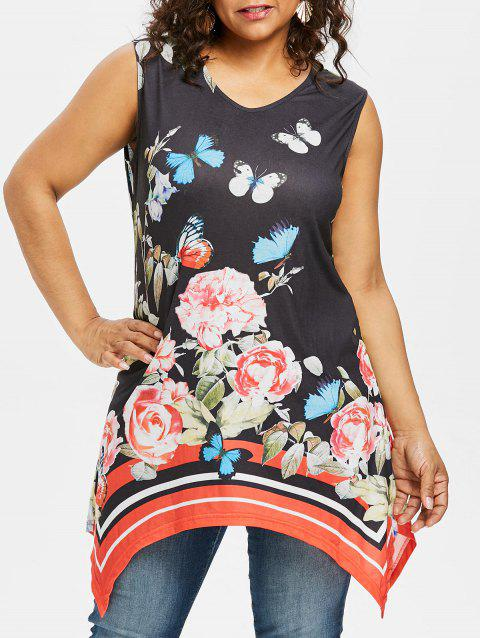 Plus Size Butterfly Print Tunic Top - BLACK 5X