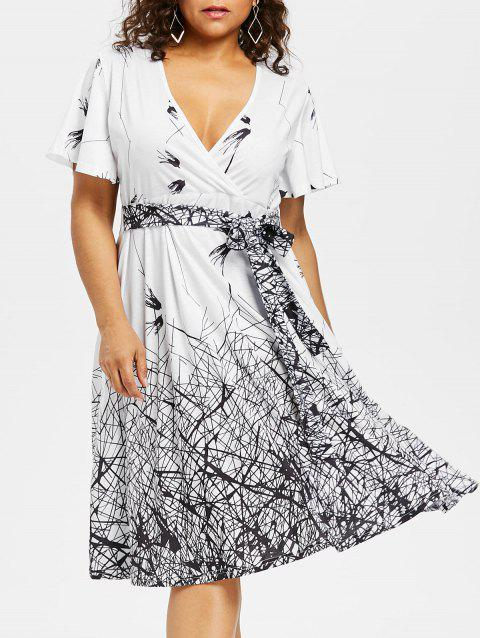 Plus Size Graphic Plunging Neck Dress - WHITE 5X