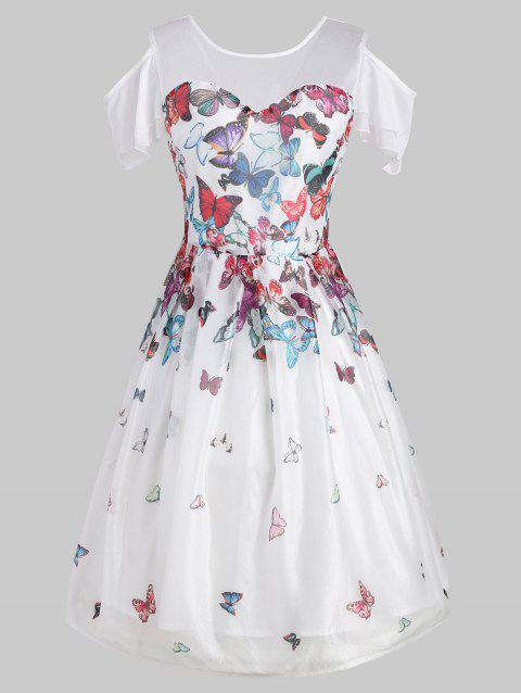 Butterfly Print Cold Shoulder Vintage Dress - WHITE L