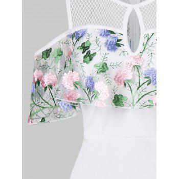 Floral Embroidered Cold Shoulder Flounce Bodycon Dress - MILK WHITE L
