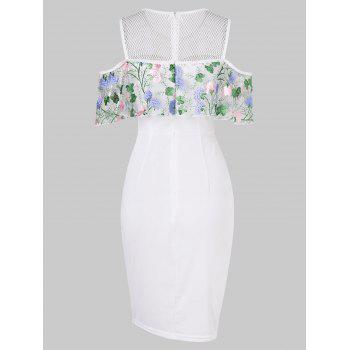 Floral Embroidered Cold Shoulder Flounce Bodycon Dress - MILK WHITE 2XL