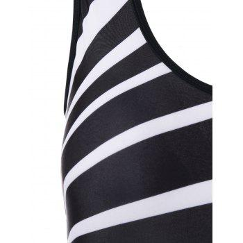 Stripe Padded Backless One Piece Swimsuit - BLACK L