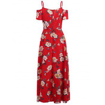 Print High Waisted Maxi Dress - LAVA RED M