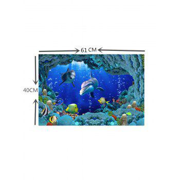 Underwater Fish Print Aquarium Fish Tank Background Sticker - multicolor W24 INCH * L16.1 INCH