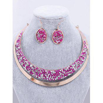 Rhinestone Crystal Alloy Choker Necklace Earrings Suit - ROSE RED