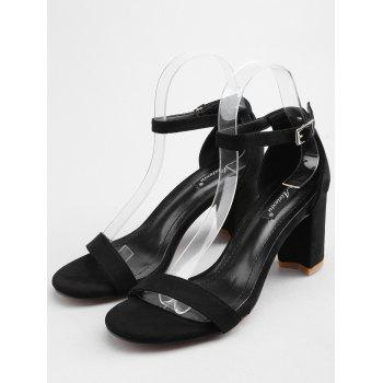 Buckled Block Heel One Strap Sandals for Party - BLACK 38