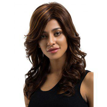 Long Inclined Fringe Wavy Colormix Human Hair Wig - multicolor
