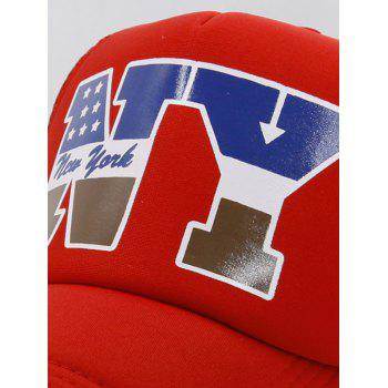 NY Pattern Mesh Hunting Hat - LOVE RED