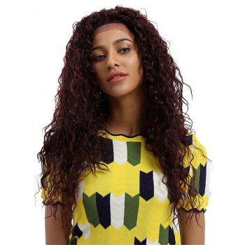 Long Free Part Fluffy Deep Wave Party Lace Front Synthetic Wig - FIREBRICK
