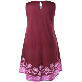 Plus Size Floral Sleeveless Swing Dress - RED WINE 4X