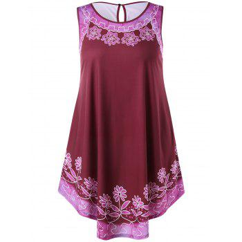 Plus Size Floral Sleeveless Swing Dress - RED WINE L