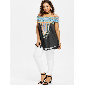 Plus Size Ruffle Baring Shoulder Dashiki Blouse - BLACK L