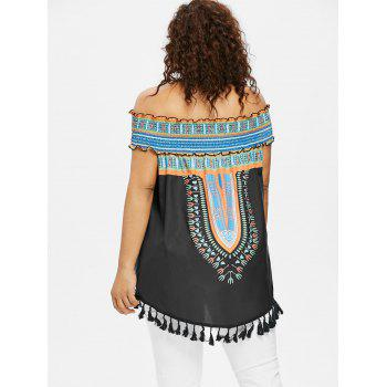 Plus Size Ruffle Baring Shoulder Dashiki Blouse - BLACK 5X