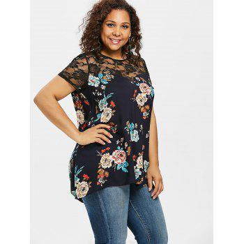Lace Insert Plus Size Flowered Blouse - MIDNIGHT BLUE 1X