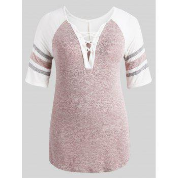 Plus Size Side Slit Tunic T-shirt - LIGHT PINK 2X