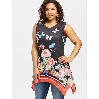 Plus Size Butterfly Print Tunic Top - BLACK 2X