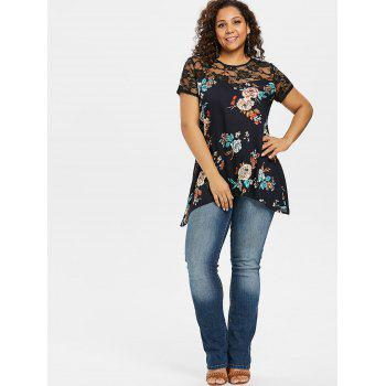 Lace Insert Plus Size Flowered Blouse - MIDNIGHT BLUE 2X