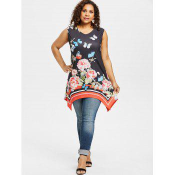 Plus Size Butterfly Print Tunic Top - BLACK 4X