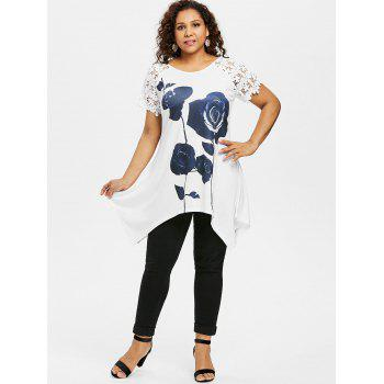 Plus Size Floral Graphic Lace Trim T-shirt - WHITE 4X