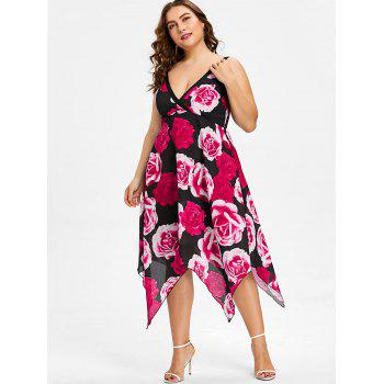 Plus Size Flower Surplice Handkerchief Dress - FIRE ENGINE RED 4X